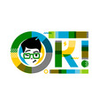 young winking and smiling male character for ok vector image