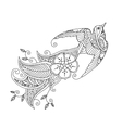 Contour image of bird flying with long ornamental vector image