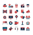 Flat Color Cinema Icons vector image