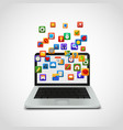 social network icons cloud with laptop vector image
