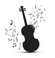 violin silhouette with notes isolated on white vector image