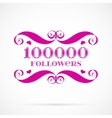 10000 followers badge over white vector image vector image