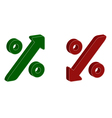 3D percentage symbol with up and down arrow vector image