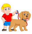 a boy is holding the red rope and standing vector image vector image