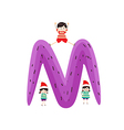 a Kid Leaning on a Letter M vector image vector image