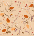 autumn floral seamless pattern with acorns vector image vector image