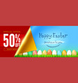 banner for easter sale easter eggs in green grass vector image