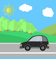 black car on a road on a sunny day vector image vector image