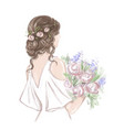 bride with beautiful hairstyle hand drawn vector image vector image