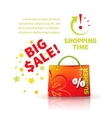 Bright red shopping bag vector image vector image