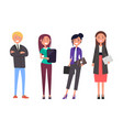 businessman and women with digital tablet isolated vector image