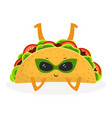 cartoon cute taco vector image vector image