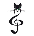 cat treble clef stylized cat music vector image vector image