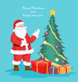 christmas card of santa claus and christmas tree vector image vector image