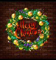 christmas wreath on the brick wall vector image