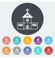 Church single flat icon vector image vector image