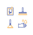 cleaning mop plunger and window cleaning icons vector image vector image