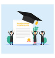 college students graduation cap and certificate vector image vector image