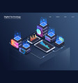 concept of big data processing isometric data vector image vector image