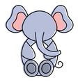 cute and tender elephant character vector image vector image