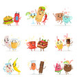 cute funny food characters having fun vector image vector image