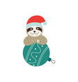 cute sloth with christmas ball christmas or new vector image vector image