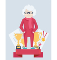 Elderly woman on a winners podium vector image vector image