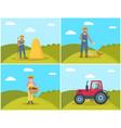 farmer feeding hens on field vector image vector image