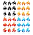 Fire flames big set new icons vector image vector image