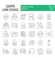 gdpr thin line icon set general data protection vector image vector image