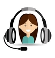 girl headphones for support vector image vector image