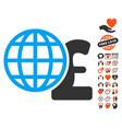 global pound finances icon with love bonus vector image