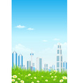 Green Grass with Skyscrapers Sun and Rays vector image