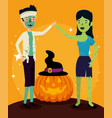halloween card with zombie disguise and pumpkin vector image