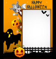 halloween sign with black ghost and kid pumpkin ma vector image vector image