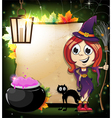 Halloween witch with a cauldron and black cat vector image