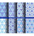 hand drawn weave blue patterns collection vector image