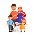 happy family are standing together in hug father vector image vector image