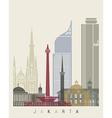 Jakarta skyline poster vector image vector image