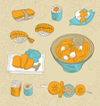 japan food icons - vector image