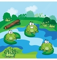 Little frogs in the pond vector image