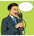 Man talking on the vintage phone vector image