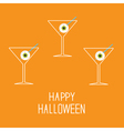 Martini set with eyeballs Happy Halloween card vector image vector image