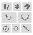 monochrome with hunting icons vector image vector image