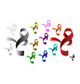 multicolored ribbons sign icon breast cancer vector image