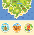 Ocean map with animals emblems vector image