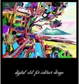 original contemporary digital landscape painting vector image