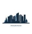 phnom penh skyline monochrome silhouette vector image vector image