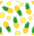 pineapple background fresh pineapples and slices vector image vector image