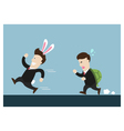 rabbit businessman and turtle one are in running vector image vector image